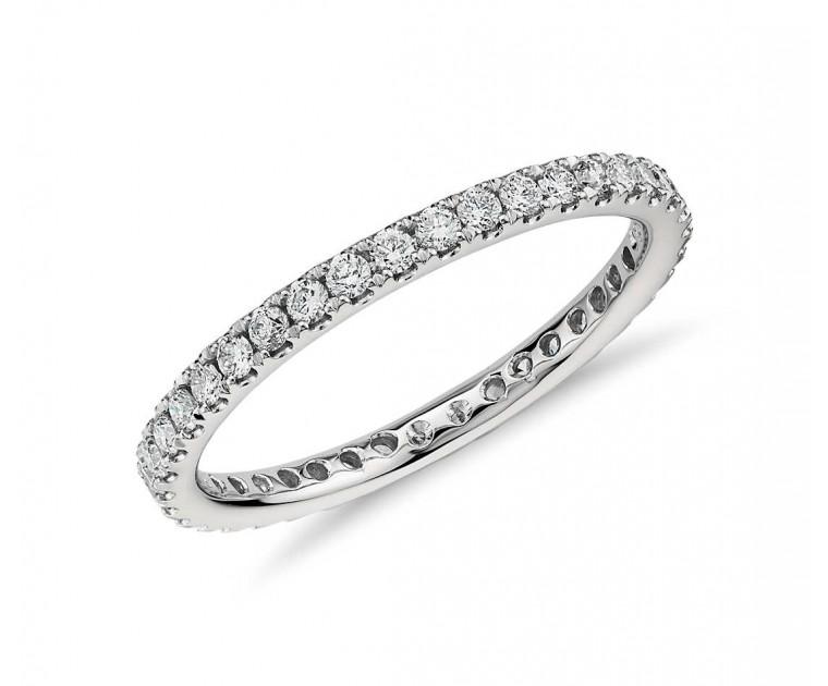 Original Empire 0,50 ct Diamantbandring in Weissgold + Diamantbandring 3,50 mm x 1,60 mm