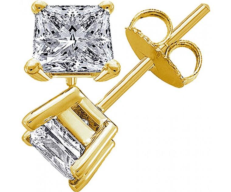 Original Empire 1,00 ct Diamantohrringe in Gelbgold