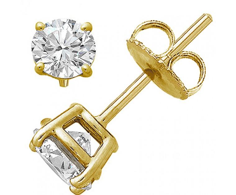 Original Empire 2,00 ct Diamantohrringe in Gelbgold